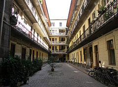 The inner courtyard or patio of an apartment building - Budapest, Hungary