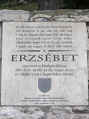 Memorial plaque of Empress Elisabeth of Austria or simply Sisi (1837-1898) - Budapest, Hungary