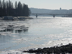 Ice floes on the Danube River at the Margaret Island - Budapest, Hungary