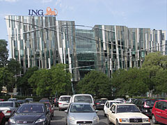 The modern all-glass building of the ING Insurance Company - Budapest, Hungary
