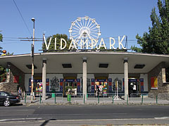 "The main entrance and reception building of the Budapest Amusement Park (""Vidám Park"") - Budapest, Hungary"