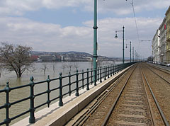 Tram rail on the Pest-side riverbank - Budapest, Hungary