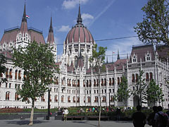 "The sight of the redesigned main square and the magnificent Hungarian Parliament Building (""Országház""), as seen from the exit of the underground railway (metro) - Budapest, Hungary"