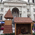 Nativity scene (Bethlehem's manger scene), a wood-made genre art at the St. Stephen's Basilica - Budapest, Hungary