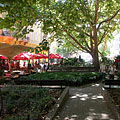 Small compact park between the houses and the restaurants - Budapest, Hungary