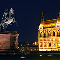 Statue of the Hungarian Prince Francis II Rákóczi in front of the Hungarian Parliament Building in the evening - Budapest, Hungary