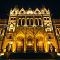 The eastern facade of the Hungarian Parliment Building overlooking the Kossuth Lajos Square - Budapest, Hungary
