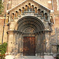 "The main entrance of the Our Lady of Hungary Parish Church (""Magyarok Nagyasszonya főplébániatemplom"") of Rákospalota - Budapest, Hungary"