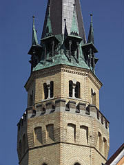 The neo-gothic brick-walled tower of the Lutheran church of Cegléd - Cegléd, Hungary