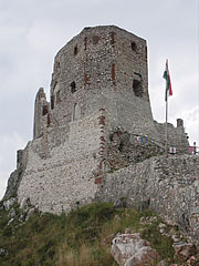 The pentagonal Keep (fortified residental tower) in the Upper Castle - Csesznek, Hungary