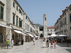 The main street (Stradun) with the Ploče Gate and the bell tower (or belfry) - Dubrovnik, Croatia