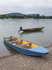 Moored smaller boats on the riverbank - Göd, Hungary