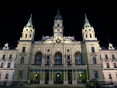 The neo-baroque Town Hall of Győr at night - Győr, Hungary