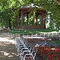 Park with benches and flowers on Radó Island (actually the whole island is a park) - Győr, Hungary