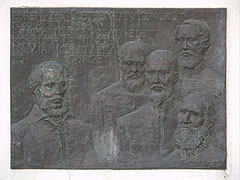 Memorial plaque of the war council of Jászberény, bronze relief on the wall of the Town Court in memory of the Hungarian Revolution of 1848-1849 - Jászberény, Hungary