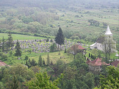 The view of the cemetery and the small church from 1810 from the hillside - Komlóska, Hungary