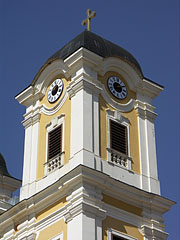 The southern steeple with the tower clock - Márianosztra, Hungary