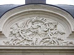Relief with floral ornamentation on the top of the front wall of the Ráday Mansion - Pécel, Hungary