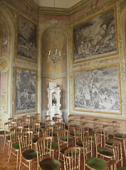 The Ceremonial Hall upstairs, its wall paintings were inspired by copperplate engravings in old books - Pécel, Hungary