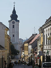 The Franciscan Church (Roman Catholic Church of St. Francis of Assisi) at the end of the street - Pécs, Hungary