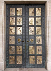 Biblical scenes cast in bronze, on the double door of the Cathedral of Pécs - Pécs, Hungary