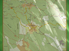 The map of the higing trails around Pilisszentkereszt village - Pilis Mountains (Pilis hegység), Hungary