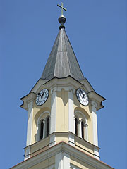 The steeple (tower) of the Visitation of the Blessed Virgin Mary Roman Catholic Parish Church - Siófok, Hungary