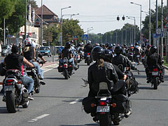 Motorcycle parade on the main road - Tata, Hungary