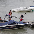 Young kayakers on the pier of the motorboat harbour - Göd, Мађарска
